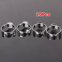 20pcs Silver Color Blank Adjustable Ring With 10mm Pad HY