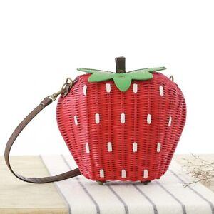 Strawberry Straw Shoulder Bags Vintage Rattan Weave Handbag Handmade Portable