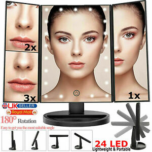 24 Led Magnifying Touch Screen Light Make-Up Cosmetic Table Top Vanity Mirror