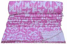 INDIAN BEDSPREAD PINK IKAT KANTHA QUILT TWIN SIZE BLANKET THROW Vintage Ethnic