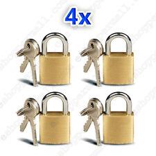 4 Small Metal Padlocks Mini Brass Tiny Box Locks Keyed Jewelry 2 Keys 20mm New !