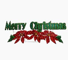 "72"" Lighted Poinsettia Merry Christmas Sign Outdoor Christmas Yard Decor Lawn"