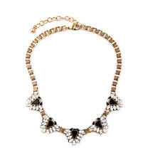 Necklace Short Golden Triangle Black Chain Crystal Retro AZ 1
