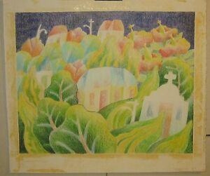 BLAIR LENT 'Stonehenge' MODERNIST village DRAWING - Children's book illustration