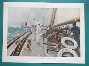 "ROYAL YACHT Meteor  Emperor Wilhelm on Board - COLOR Antique Print 14.5 x 20"""