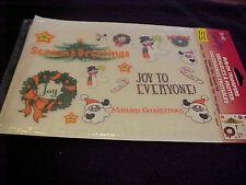 Seasons Greetings Rub on Transfer Santa Snowman Candy Cane Wreath Joy