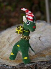 """Made in Japan"" Christmas Holiday Green Dino Dinosaur Plush 5 1/2"" Striped Hat"