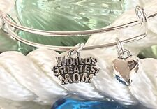 Worlds Greatest Mom *Special* bright Silver charm Expandable Bangle Bracelet