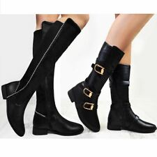 Womens Ladies Knee High Boots Long Calf Length Studded Flat Low Block Heel Shoes