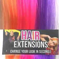 3X Packs of 3 Neon Clip In Hair Extensions Bright Colourful Pink Purple Orange