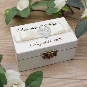 Personalised Wedding Ring Box Rustic Wooden Wedding Ring Holder Ring Bearer Box