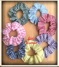 Pack 5 School Scrunchies Gingham Check Fabric Elastic band Ponytail Hair Tie