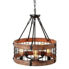Vintage 5-Light Wood Circular Chandelier Dining Room Metal Cage Ceiling Light UL