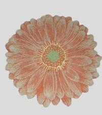 """Vintage 1930s Hook Rug Pink Flower Shaped Hand Hooked Folk Art Deco Antique 29"""""""