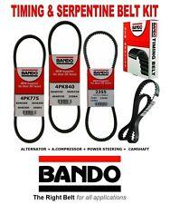 1990-2001 ACURA INTEGRA Timing & Serpentine OEM BANDO Drive Belt Kit 4 Pcs
