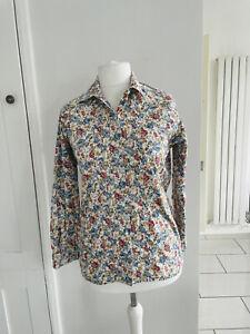 Vintage St Michaels Cotton Floral Blouse UK 10 Cottagecore