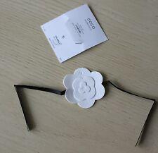 COCO CHANEL White & Black Felt Camellia Flower Perfume Blotter Bracelet New VIP