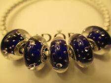 5 Authentic Pandora Silver 925 Ale Dark Blue Effervescence Beads Charms 791630CZ