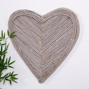 Large Wicker Wall Art Heart White Grey Hanging Shabby Vintage Chic Decoration