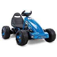Huffy Ride on Car for Kids 6V 2 in 1, Flat Kart Toy, Blue