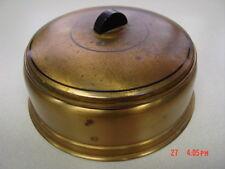 Vintage Art Deco Brass Tone Round Metal Powder Box Pink Depression Glass Insert