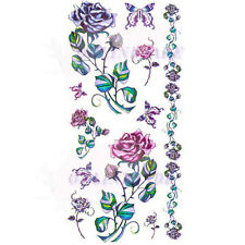 Temporary Tattoo Removable Arm Body Sexy Dark Color Flower Rose Butterfly X051