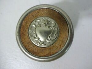 Antique Round Travel Leather Covered Inkwell with Scroll Design