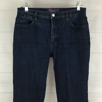 NYDJ Womens Size 10 Stretch Blue Dark Wash Creased Mid Rise Flare Jeans USA Made