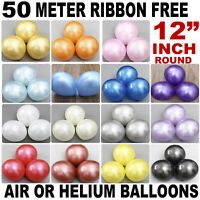 "100 PCS HELIUM Pearlised Latex Balloons 12"" Wedding Birthday Party CHRISTENING"