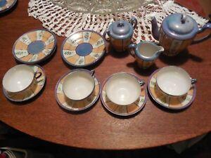 Vintage Japanese Child's  Peach & Blue Lusterware Tea Set Service for 4