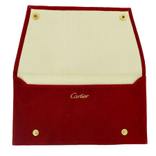 """Pouch 7.4"""" X 4"""" Inches Authentic Cartier Red Velvet Suede Jewelry/Eyeglasses"""
