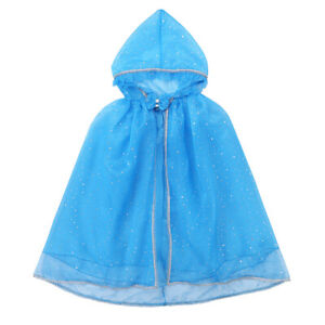 Girls Hooded Cloak Princess Costume Carnival Cosplay Cape Sequins Party Dress Up