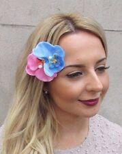 Double Light Blue Pink Orchid Flower Hair Clip Rockabilly 1950s Fascinator 2967