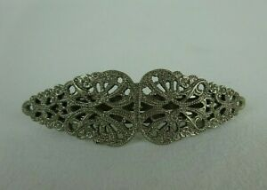 "Vintage Silver Tone Filigree Floral Hair Barrette Made in France ~ 4"" x 1"" ~"