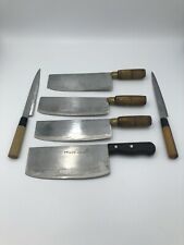 Lot Of 6 Japanese Styled Kitchen Knives Restaurant Stainless Steel NO RESERVE
