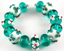 HANDMADE LAMPWORK BEADS Christmas Red Green Flower