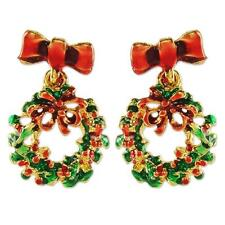 NEW GREEN RED CHRISTMAS WREATHE BOW DANGLE FASHION HOLIDAY EARRINGS