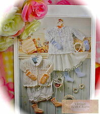 Vintage Knitting Pattern Baby's 5 Piece Traditional Layette 2 Sizes FREE UK P&P
