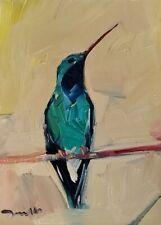JOSE TRUJILLO Oil Painting 9X12 BIRD HUMMINGBIRD IMPRESSIONISM MODERNIST ART