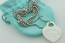 Tiffany & Co. Sterling Silver XL Large Return to Tiffany Heart Tag & Chain - 34""