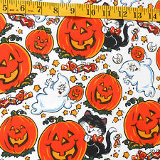 "FABRIC - EILEEN TOOHEY ""HALLOWEEN"" RETRO MOTIF CATS, GHOSTS 100% COTTON 1.94 YDS"