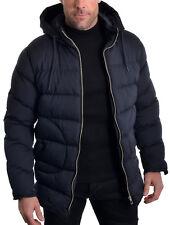 Slim Mens Parka Jacket Longer Back Hooded Padded Winter Casual Organic Cotton Navy Blue XL