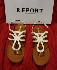Report Goldy White Leather Ankle Strap Thong Flip Flop Heel Sandal Shoe 9.5 $50