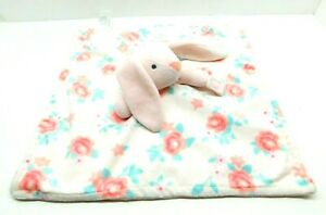 Carter's Pink Bunny Rabbit Flowers Floral White Lovey Security Blanket