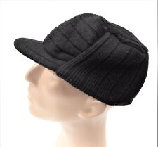 Men's Cadet Hat Knit Winter Cap with Brim Military Style Choice of Colors