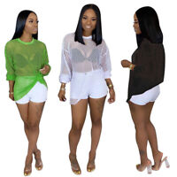 Summber Women Long Sleeve Solid Color Mesh Hollow Out Summer Club Tops T Shirt