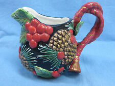 Fitz and Floyd Classics Christmas Holiday Creamer Pinecones and Berries