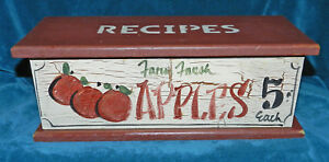 AWESOME PAINTED WOOD APPLE DOUBLE RECIPE BOX WITH LID!! VERY NICE!!