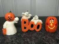 Lot of Vintage Halloween Candles and Candle Holder Pumpkin Ghost