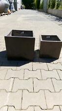 Braun glasierte Töpfe, Set 2 Stk. Zement Keramik, quadratisch